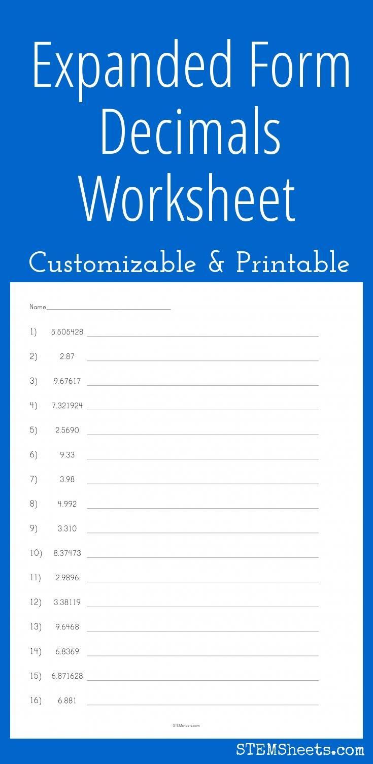 hight resolution of Expanded Form Decimals Worksheet   Expanded form