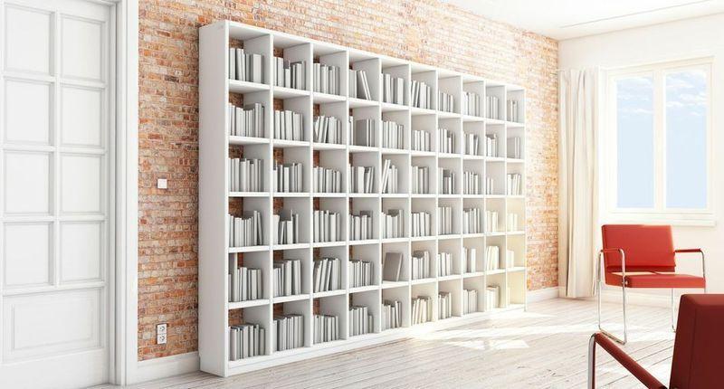 Bücherregal weiß modern  Bücherwand, Bücherregal weiß, 220 x 322 cm   Bücherwand ...