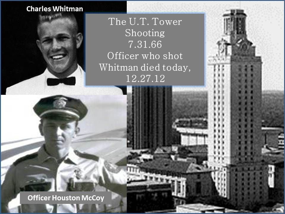 the story of charles whitman Allen crum, left, a bookstore employee, made it to the top of the university of texas tower to help police officers stop sniper charles whitman on aug 1, 1966 the next but the story of crum, then a 40-year-old floor manager at a nearby bookstore, and the other vigilantes is complicated on the day of the.