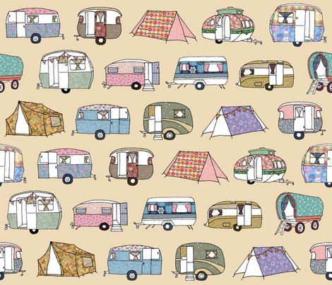 """100/% Cotton Fabric Nutex Fabrics Camping /""""Retro Caravans/"""" Design"""