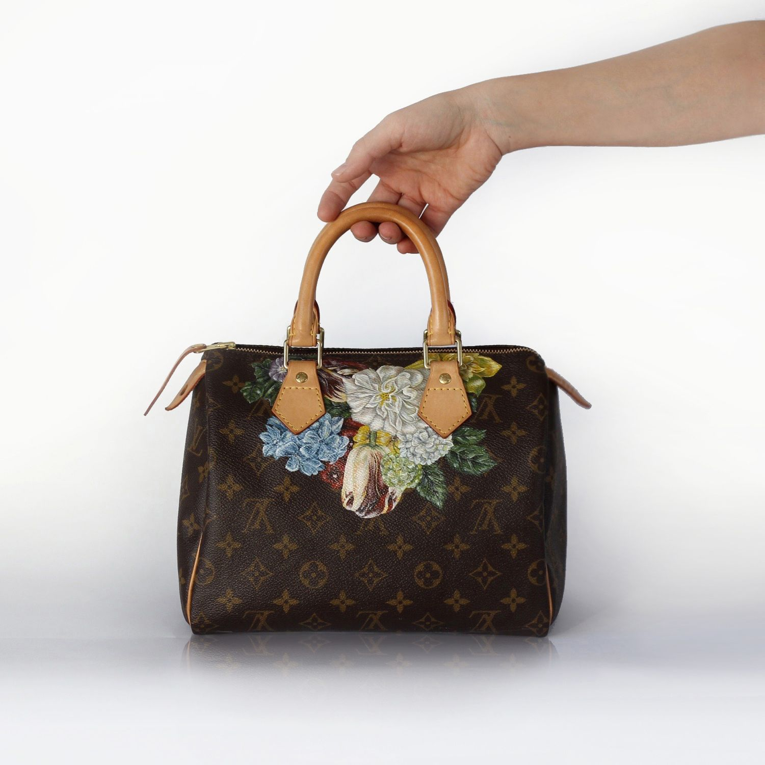 hand painted louis vuitton speedy 25 baroque flowers
