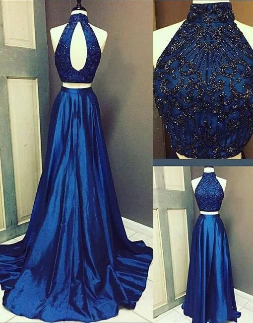 Two Pieces Royal Blue 2018 Prom Dresses Prom Dresses Formal Women Dress Prom Dress F33 Two Piece Evening Dresses Prom Dresses Blue Royal Blue Prom Dresses