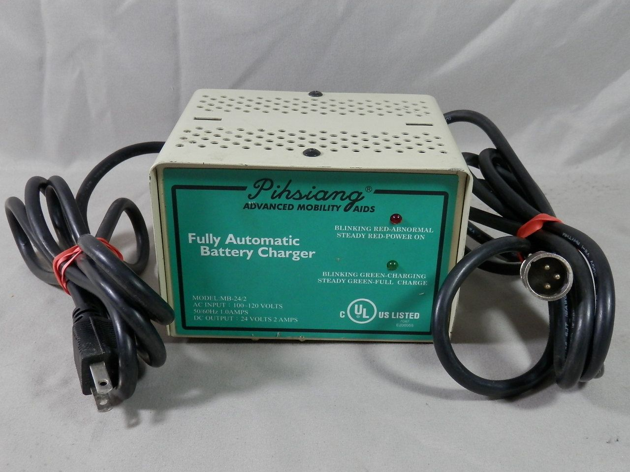 small resolution of pihsiang mb 24 2 24 volt 2a automatic battery charger mobility scooter 3 pin connector 2 amp by caymanhilldesigns on etsy