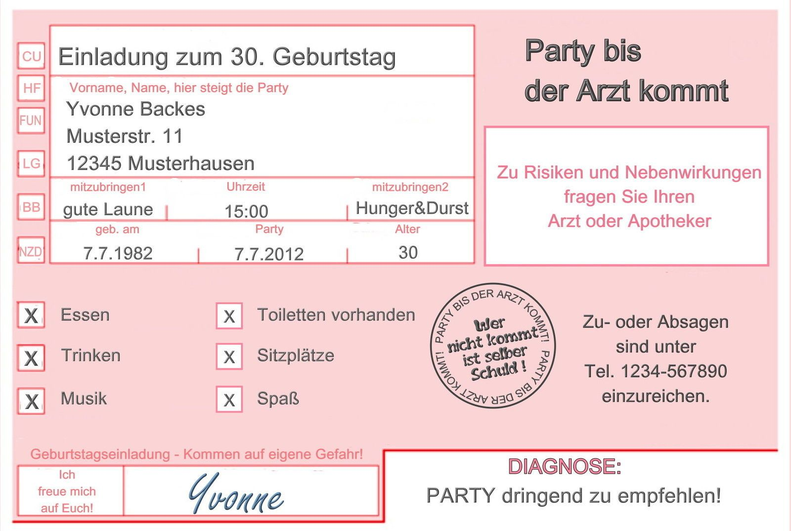 einladungskarten arzt 18 30 40 50 geburtstag einladungen, Einladung