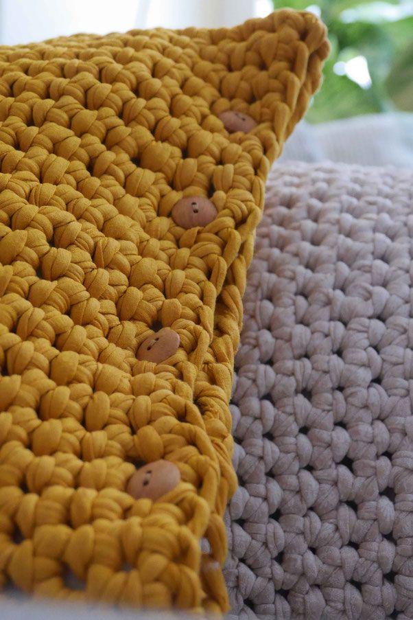 Großes Häkel Kissen Aus Textilgarn Häkeln Häkeln Garn Und