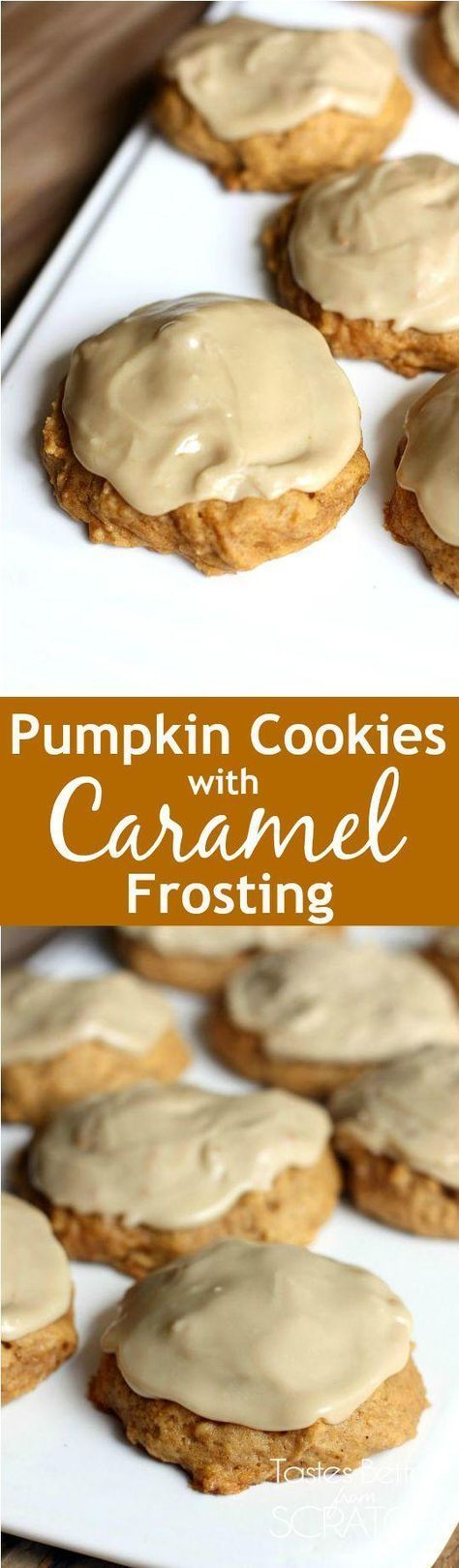 Cookies with Caramel Frosting These cookies are the BEST! Melt in your mouth soft pumpkin cookies with caramel frosting. Recipe fromThese cookies are the BEST! Melt in your mouth soft pumpkin cookies with caramel frosting. Recipe from