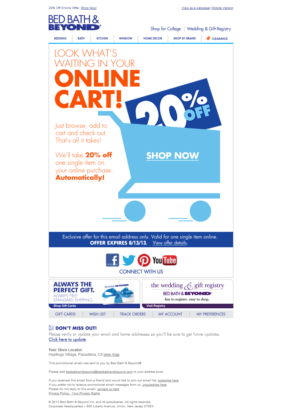 Bed Bath Beyond Abandoned Cart Email Shopping Cart Abandonment