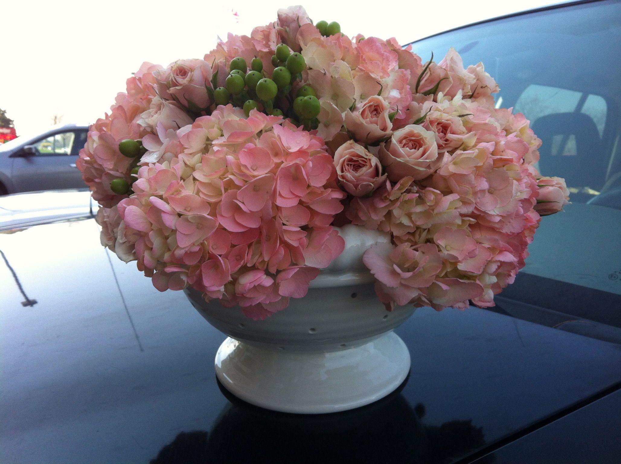 Shower flowers in a colander 5-2013