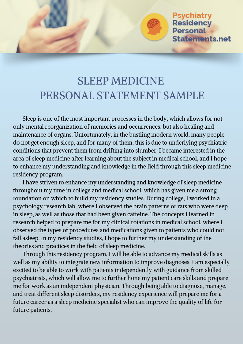 Hard Time Writing Your Personal Statement Let Thi Sleep Medicine Sample Help You Out Visit Psychiatry