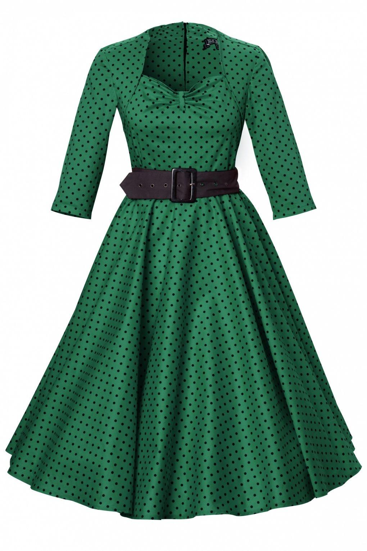S momo swing dress green black polka dot swings black and clothes