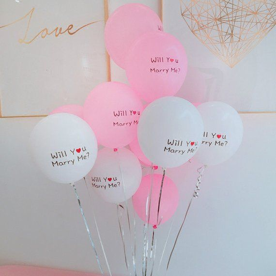 Pink And White Balloon Bouquet For Marriage Proposal
