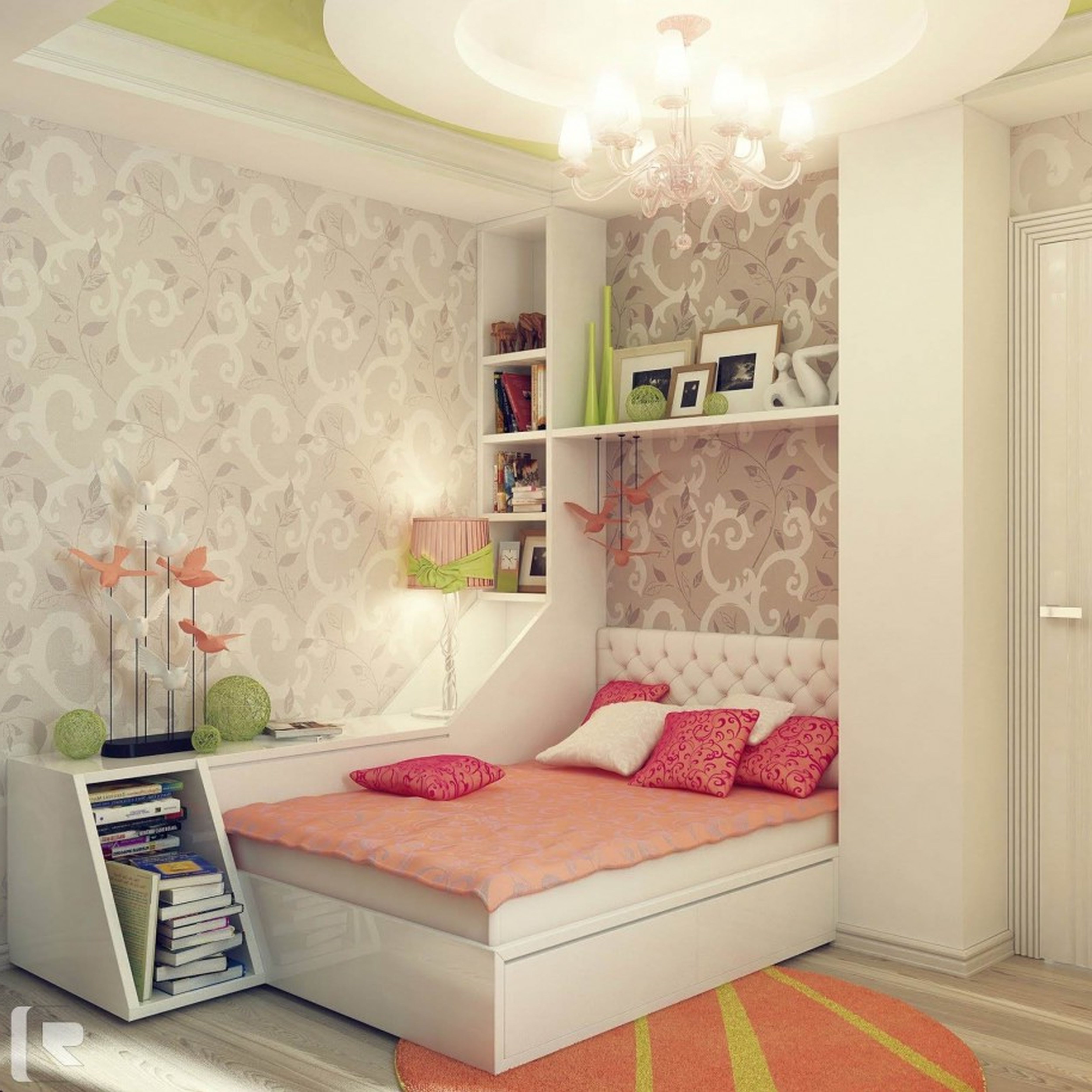 Impressive Girls Bedroom Decors With White Bed Frames Also Bookcase