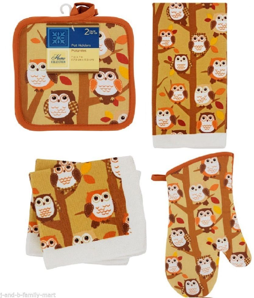 6 Pc.Home Collection Fall Owl Kitchen Linens Oven Mitt Towel 2 Potholders 2 Dish #HomeCollection