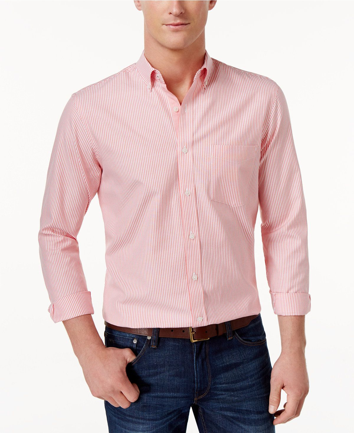 87e555513ed Club Room Men's Striped Button-Down Shirt, Only at Macy's - Casual  Button-Down Shirts - Men - Macy's