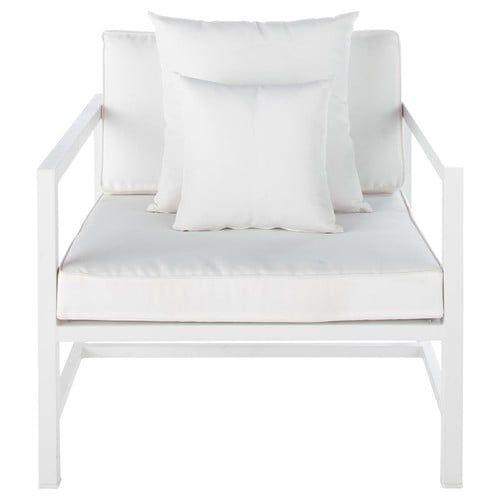 Fauteuil ITHAQUE de jardin en aluminium blanc sur Maison du Monde ...