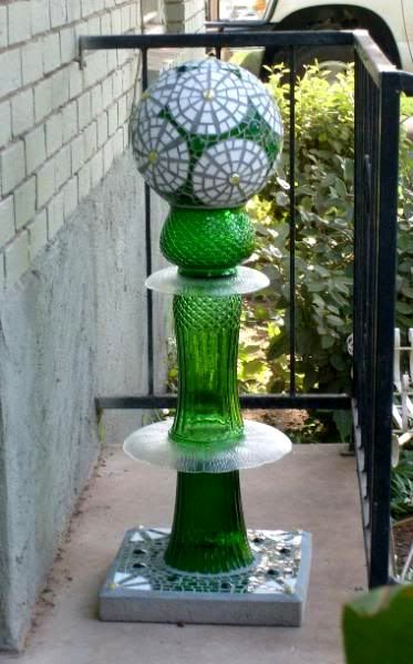 Green gazing ball totem