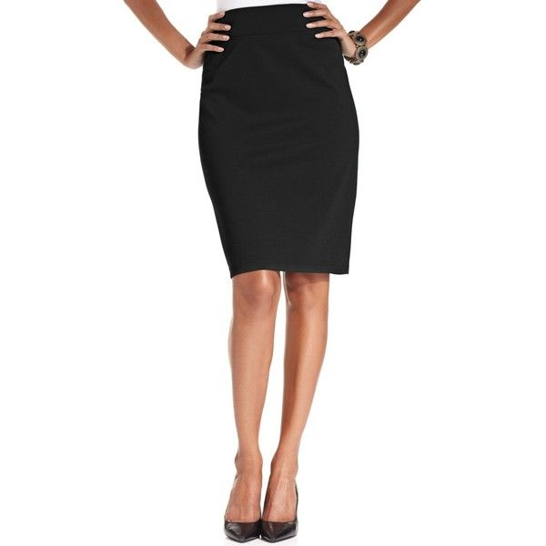 Style & Co. Pull-On Ponte-Knit Pencil Skirt ($27) ❤ liked on Polyvore featuring skirts, deep black, style & co., black pencil skirt, ponte pencil skirt, pull on skirt and knee length pencil skirt
