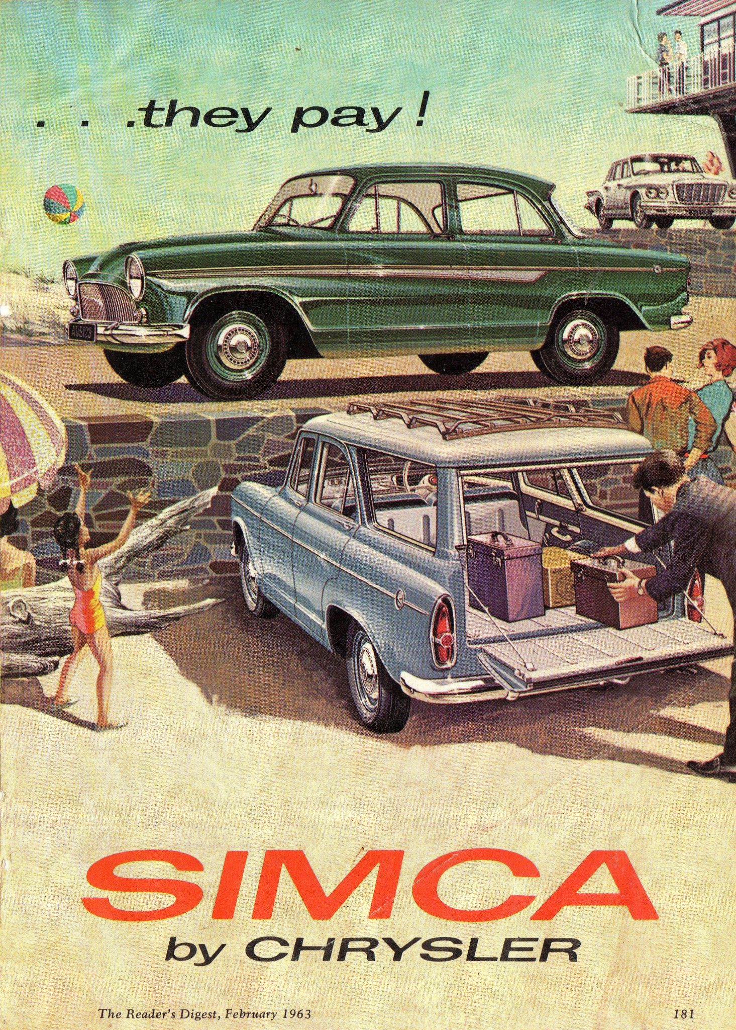 1963 Chrysler Simca Aronde Sedan & Wagon Valiant SV1 S Series Sedan Page 2 Aussie Original Magazine Advertisement