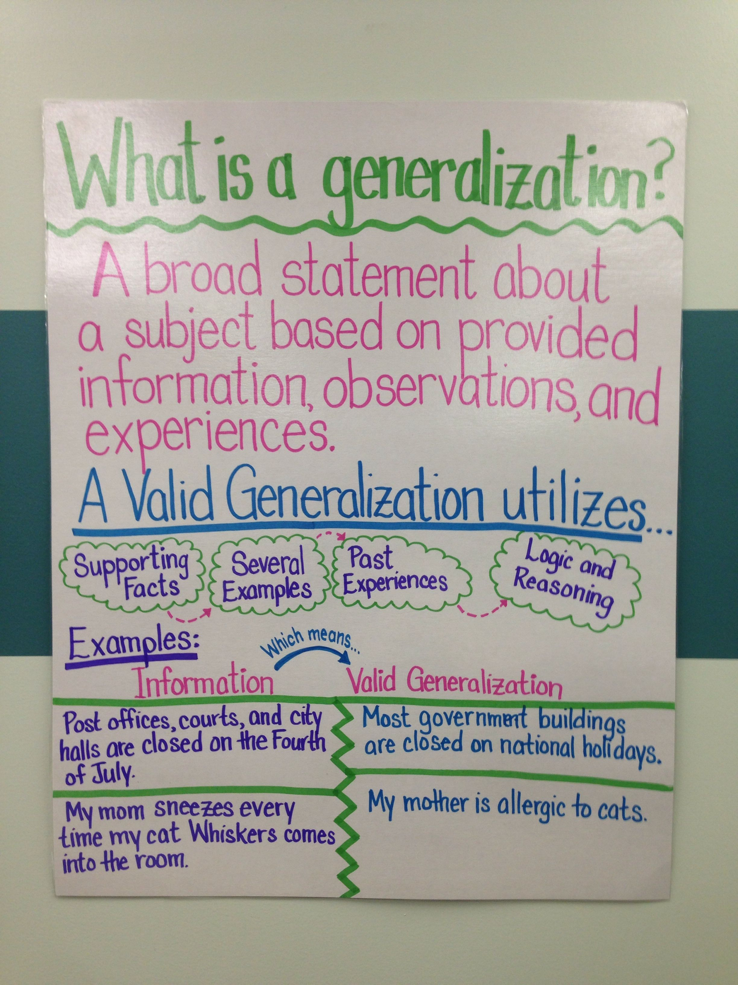What Is A Generalization Fifth Grade Language Arts A