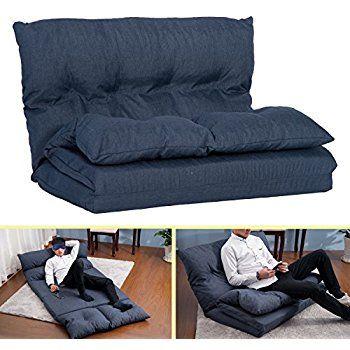 ca6e510226fc Amazon.com: Merax Fabric Folding Chaise Lounge Floor Gaming Sofa Chair  (Navy Blue): Kitchen & Dining