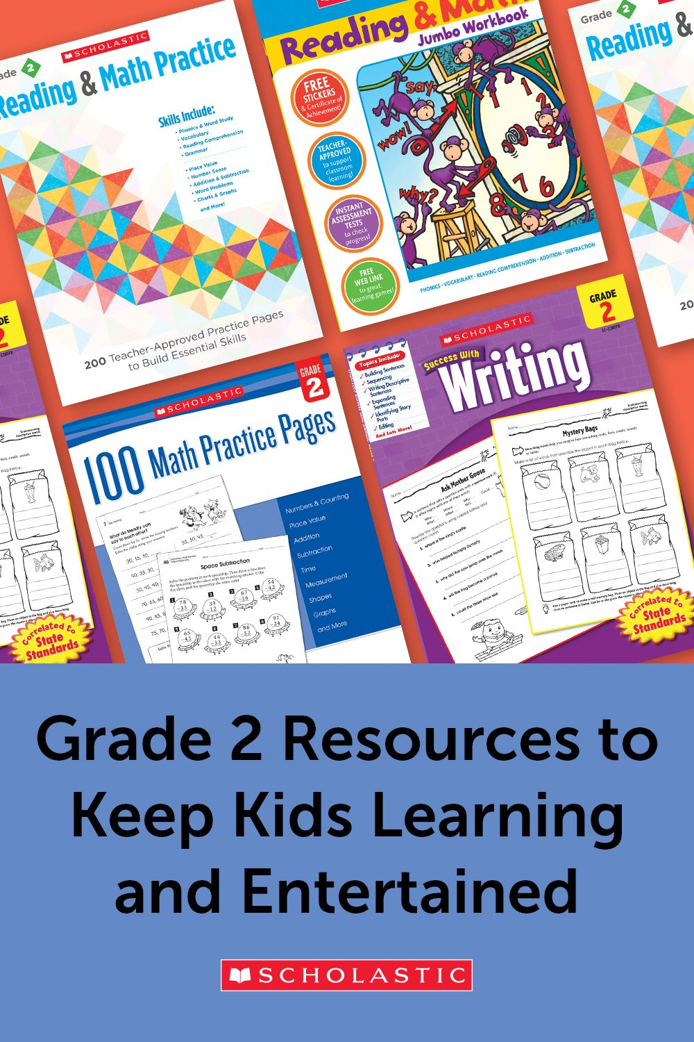A Collection Of Scholastic Workbooks And Activities To Keep Second