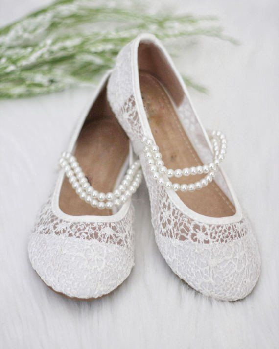 ae05ebfa0dbfc1 Girls Shoes White Lace Ballet Flats with Pearl Straps