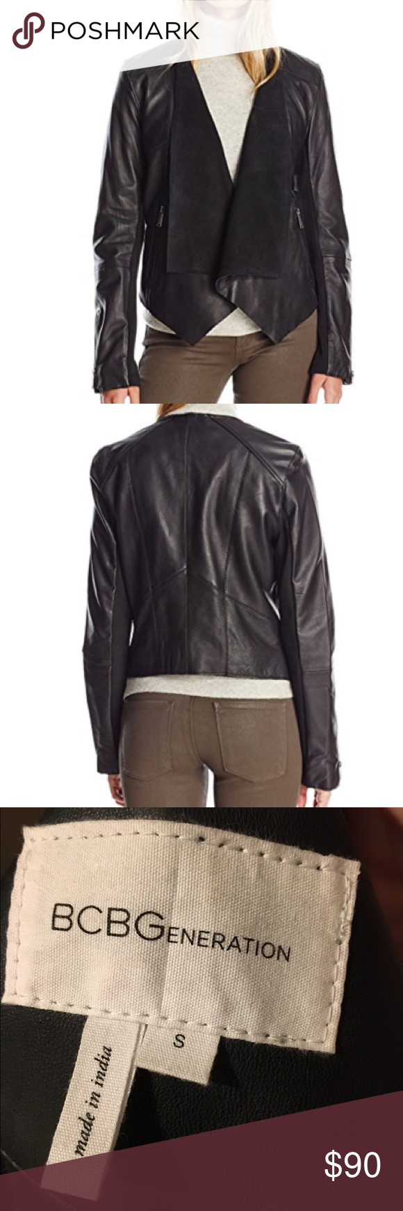 Bcbgeneration black leather jacket size S Description Missy open front drape leather jacket in black with zipper by the sleeve that open Features & details Shell: 100% Leather; Lining1: 100% Cotton Imported Dry Clean Only BCBGeneration Jackets & Coats