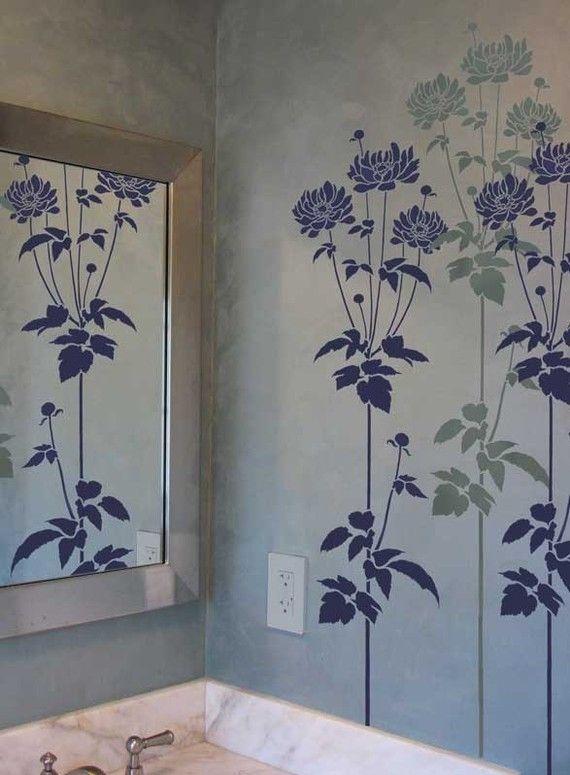flower stencil garden anemone reusable stencils for easy wall decor schablonen pinterest. Black Bedroom Furniture Sets. Home Design Ideas