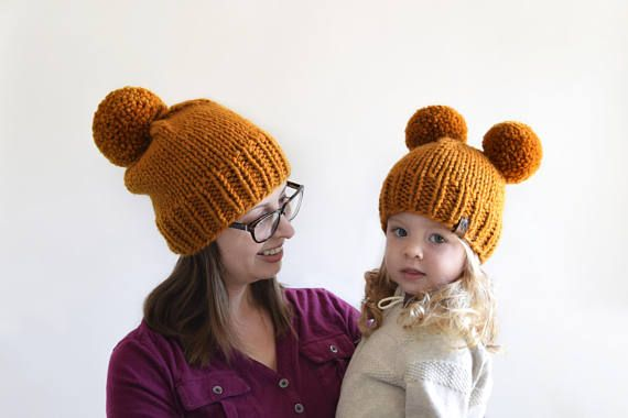 Hat Knitting Pattern Double Pom Pom Hat Pattern Toddler Hats