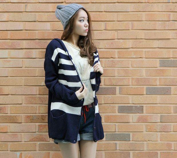 Women's Deep V-Neck Striped Sweater