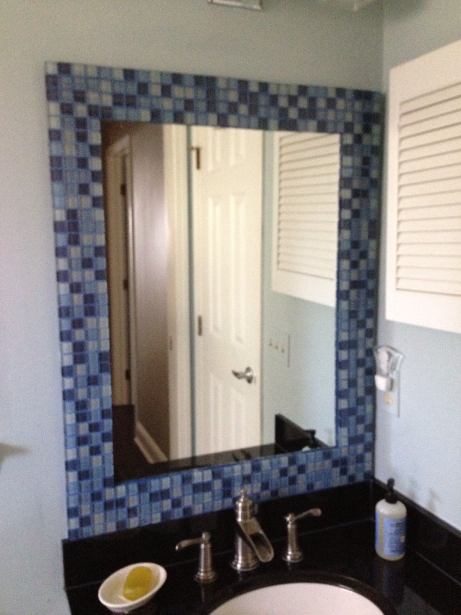 Mosaic tiled a frame on my oversized and outdated bathroom mirror ...