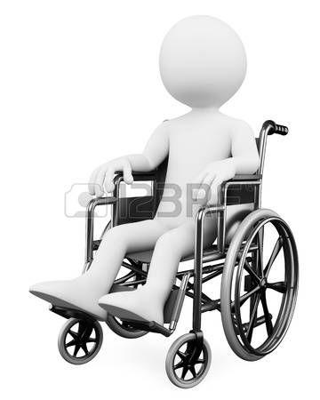 discapacidad: Persona blanca 3d discapacitados en silla de ruedas. Imagen en 3d. Aislado fondo blanco.