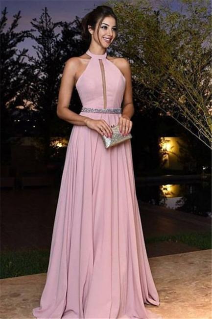 günstige abendkleider lang rosa neckholder a linie chiffon