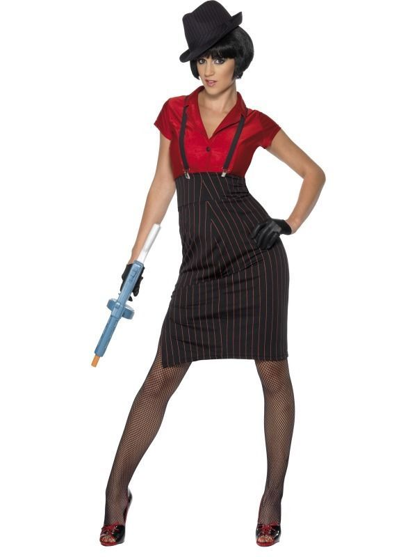 Womens Ladies 1920s Gangsters Moll Mafia Pinstripe Fancy Dress Costume Outfit