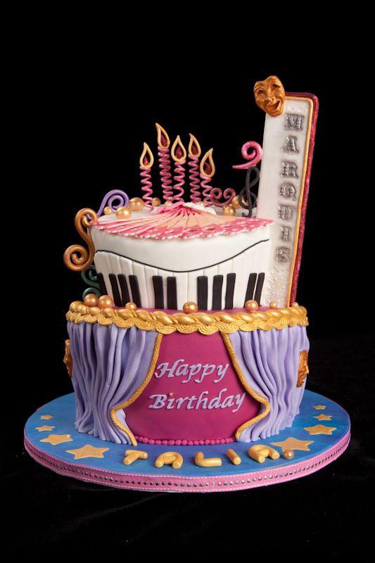 Musical Themed Birthday Cake With Candle