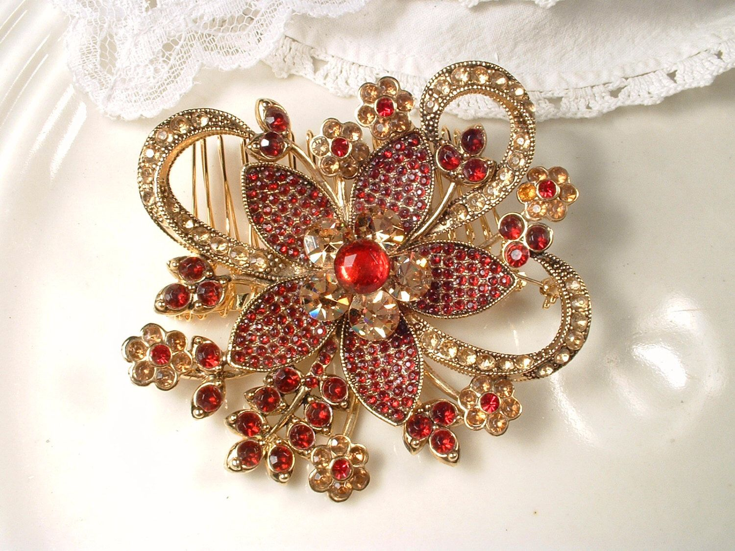 red sash brooch or hair comb, large gold garnet ruby