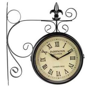 Paddington Station Railroad Wall Clock 2 Faced Double Sided Home Office Sale Wall Clock Clock Metal Wall Clock