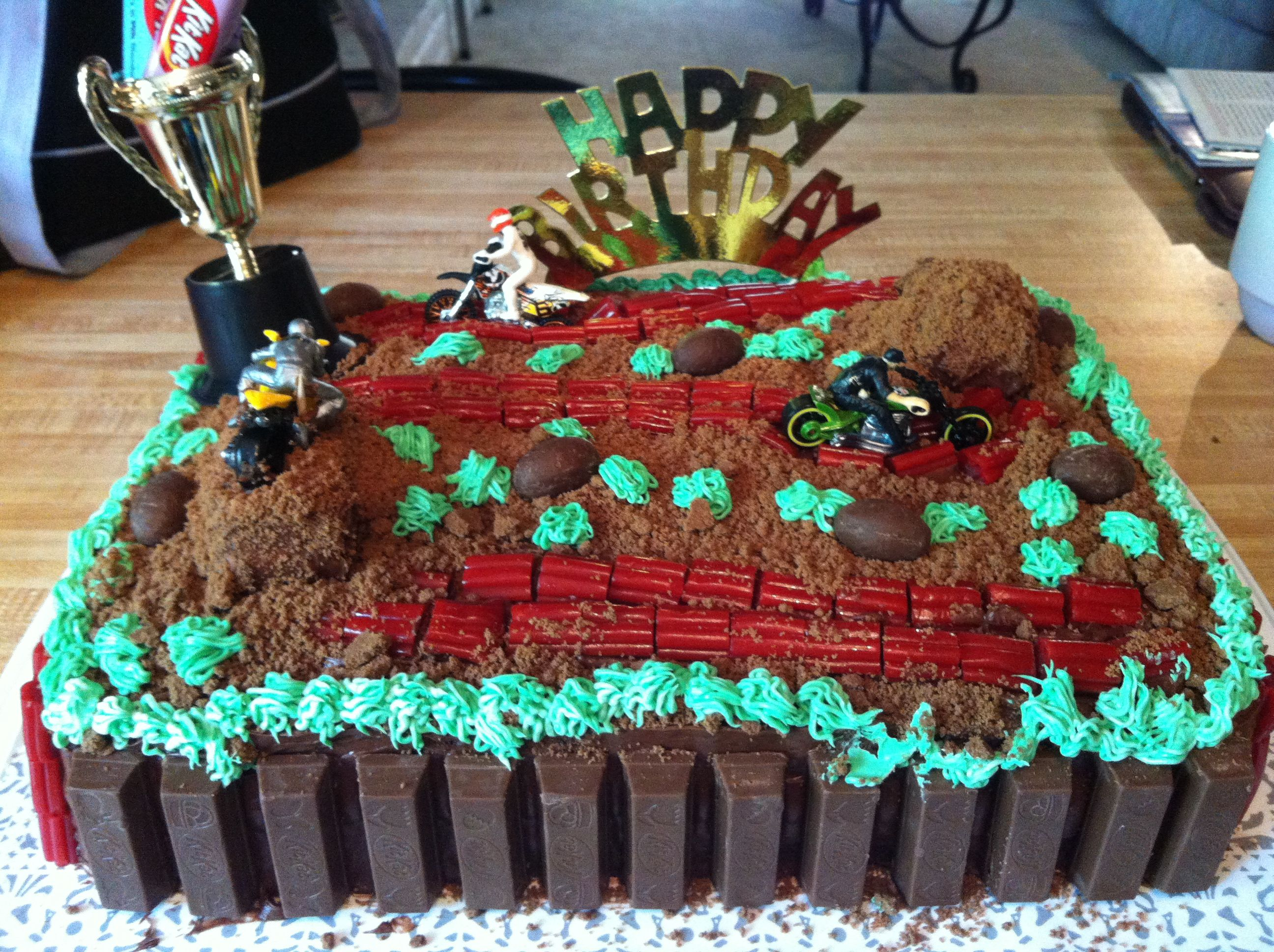 Admirable Dirt Bike Birthday Cake For My 7 Year Old The Hills Are Made Of Personalised Birthday Cards Paralily Jamesorg