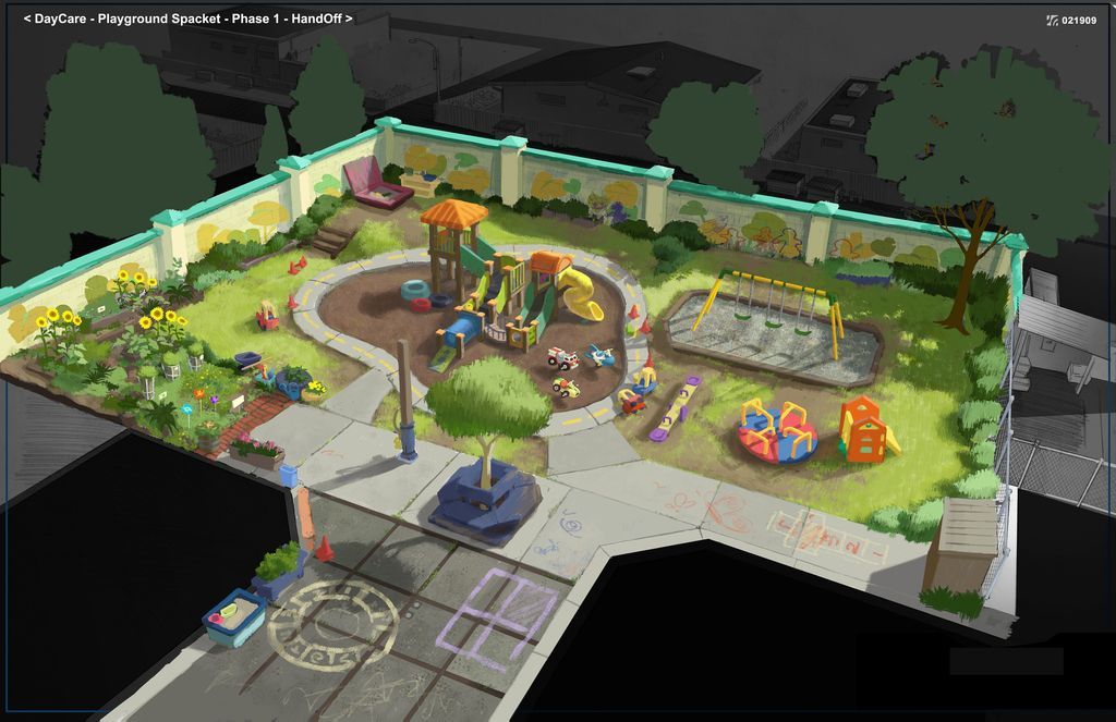 Toy Story 3 Sunnyside : Concept art sunnyside playground toy story