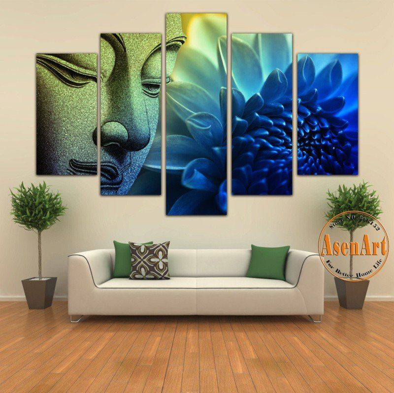 e8589981e4c 5 Pieces Wall Picture Buddha Painting Flower Canvas Wall Art Picture Home  Decoration Canvas Print Artwork Unframed
