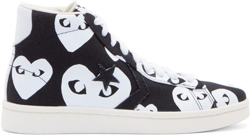 c67b54fdf99748 Comme des Garçons Play - Black Heart Print Converse Edition High-Top  Sneakers