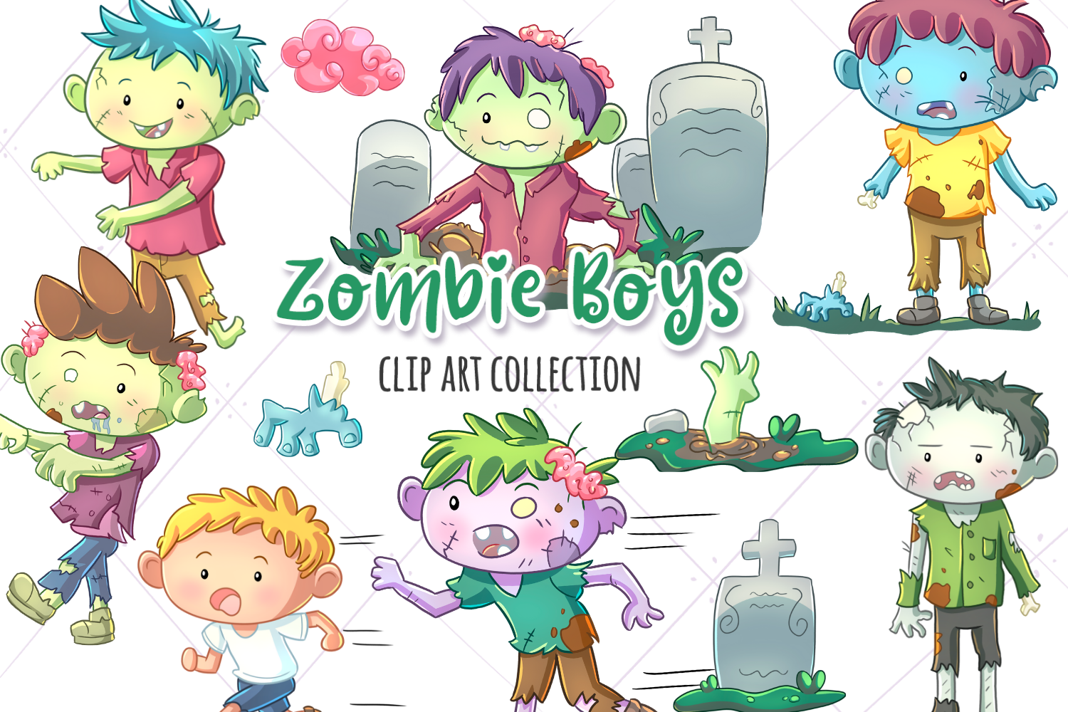 Zombie Boys Clip Art Collection (Graphic) by