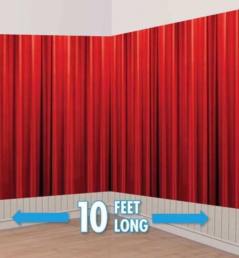 Red Curtain Hollywood Room Roll - Party City