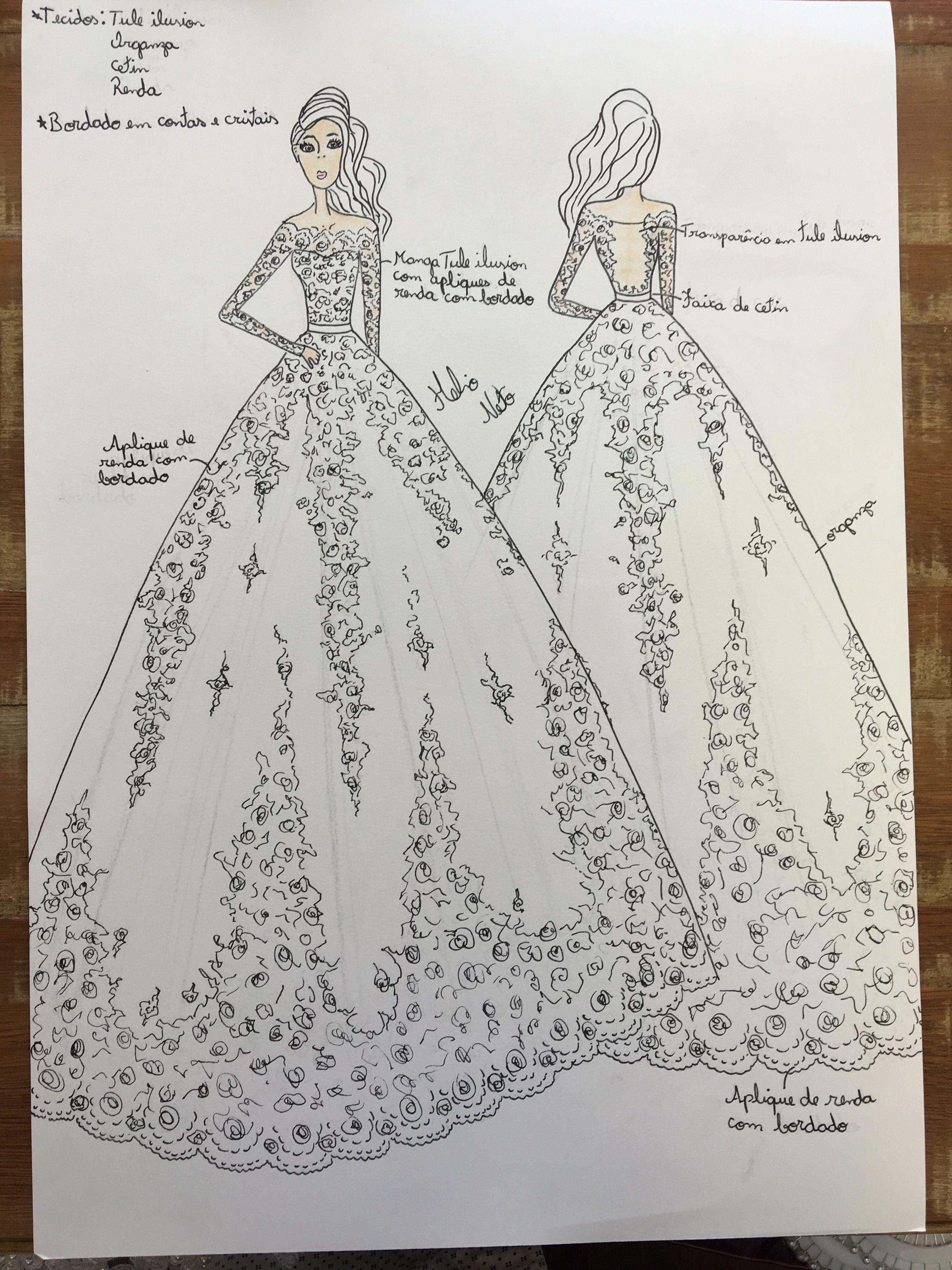 Croqui Desenho Vestido De Noiva Princesa Atelie Helio