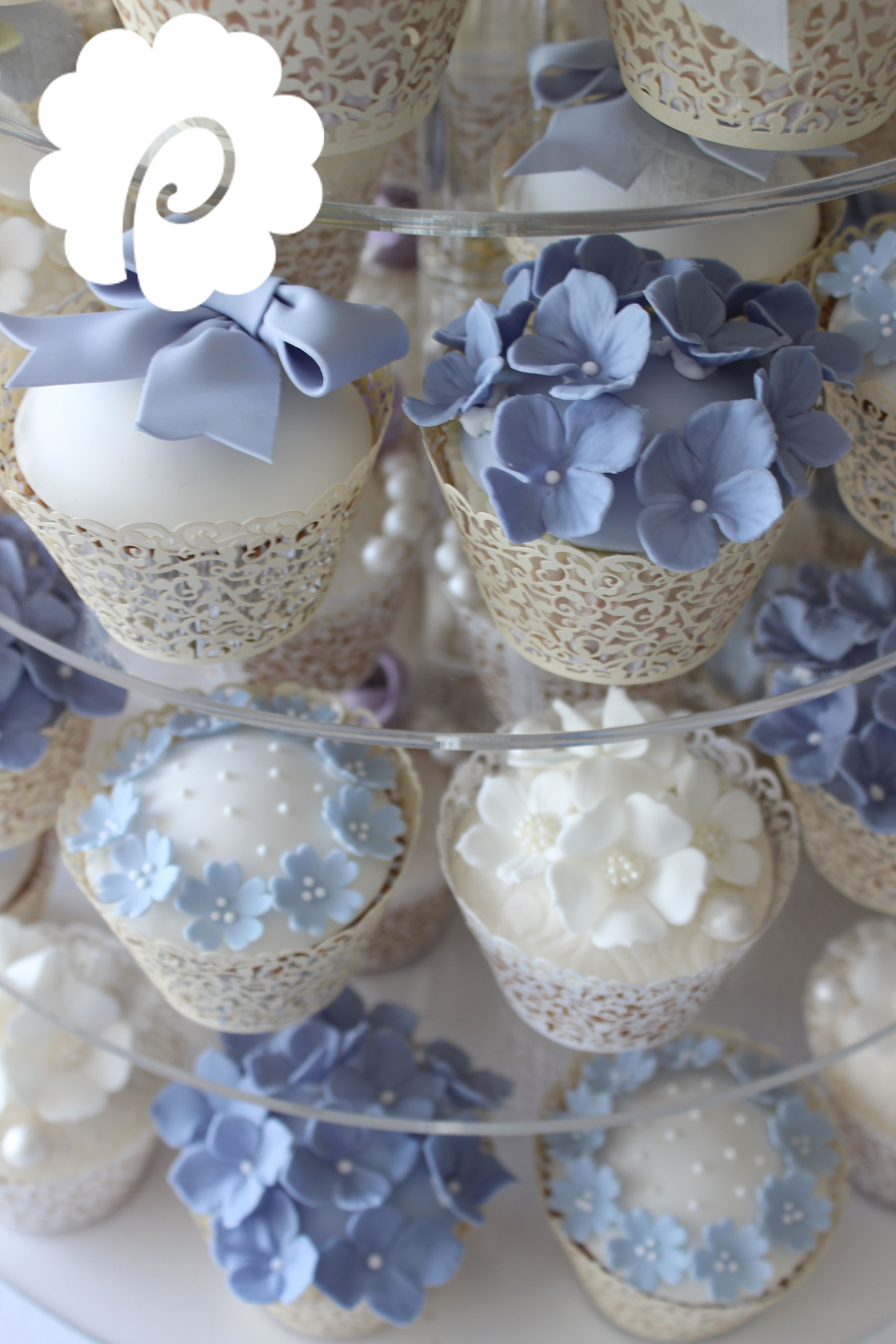 Soft Bluebell And Cornflower Coloured Floral Cupcakes With Hand Made