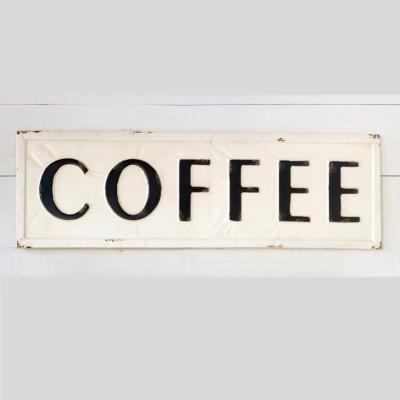 Hot Coffee Shop Embossed Metal Sign