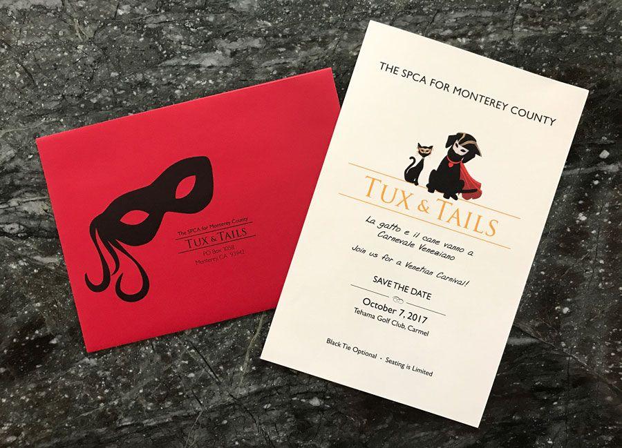 wedding invite background design%0A Monterey County SPCA Tux  u     Tails Fundraiser Invitation   https   mooredesigngraphics com