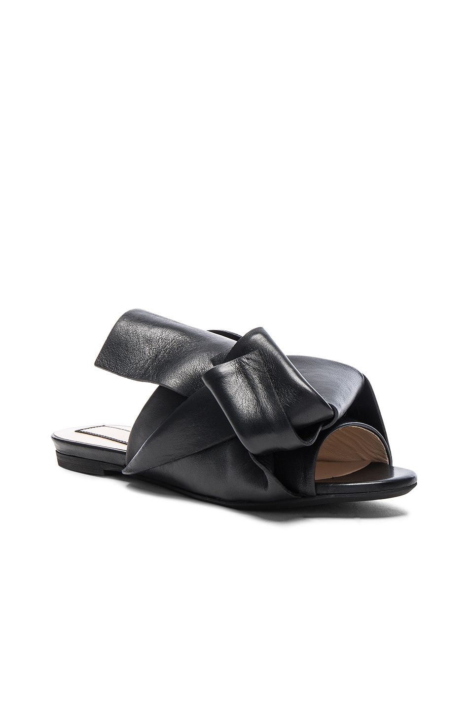 e835a22db926a Image 2 of No. 21 Knot Front Leather Sandals in Black Leather ...