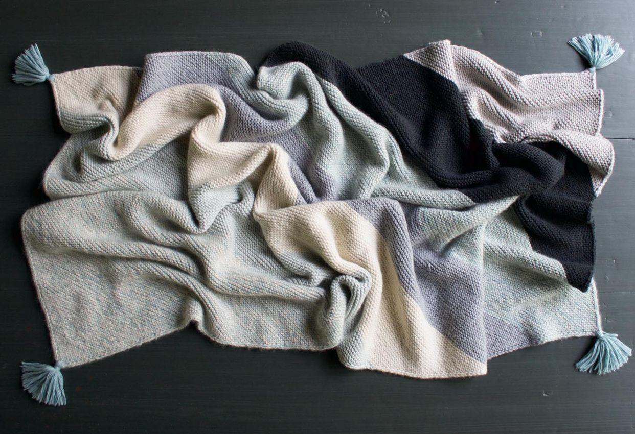 Rectangular Colorblock Bias Blanket (The Purl Bee) | Blanket, Purl ...