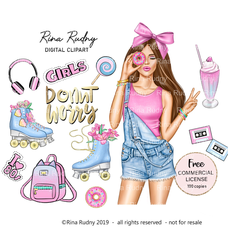 Donut Clipart Summer Clipart 80s Fashion Clipartroller Etsy In 2020 Girl Clipart Summer Clipart Clip Art